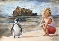 Mädchen, Pinguin, Meer, Aquarellmalerei