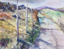 Abstrakt, Bergauf, Landschaft, Aquarellmalerei