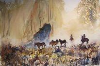 Western, Pferde, Aquarell