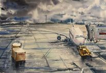 Regen, Flugzeug, Aquarellmalerei, Aquarell