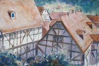 Architektur, Haus, Fachwerk, Aquarellmalerei