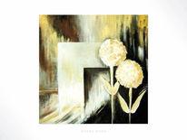 Abstrakt, Gold, Blumen, Acrylmalerei