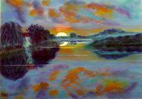 Morgen, Wasser, Landschaft, Pastellmalerei
