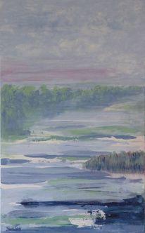 Fluss, Landschaft, Malerei, Wasser
