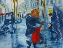 Acrylmalerei, Straße, Regen, Menschen