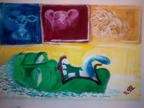 Acrylmalerei, Grün, Ölmalerei, Figural