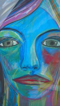 Portrait, Zeichnung, Grün, Abstrakt