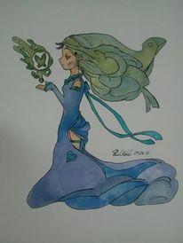 Traum, Frau, Wasser, Schmetterling