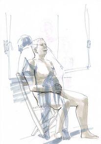 Zeichnung, Portrait, Tuschezeichnung, Akt