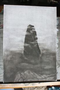 Elbsandstein, Kohlezeichnung, Bleistiftzeichnung, Romantik