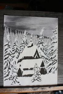 Kohlezeichnung, Winter, Schwarz weiß, Schnee