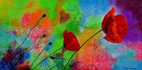 Pflanzen, Rot, Knallig, Ölmalerei
