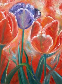 Gemälde, Ölmalerei, Blumen, Tulpen