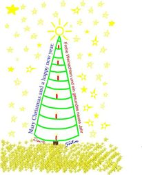 Sterne und sonne, Tannenbaum, Kerzen, Digitale kunst