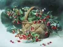 Erdbeeren, Korb, Stillleben, Aquarell