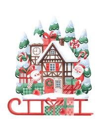 Illustration, Schneemann, Frohe weihnachten, Winter illustration