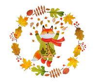 Illustration, Herbst, Fuchs, Blätter