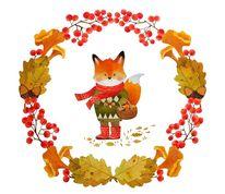 Herbst, Fuchs, Pilze, Aquarell