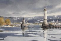 Lindau, Bodensee, Leuchtturm, Aquarell
