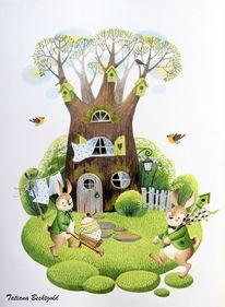 Kinderillustrationen, Hase, Ostern, Kinderbuch illustration