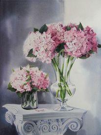 Stillleben, Blumen, Hortensien, Aquarell