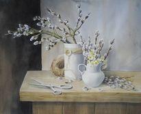 Frühling, Stillleben, Zweig, Aquarell