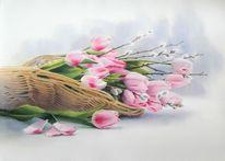 Frühling, Rosa, Korb, Tulpen
