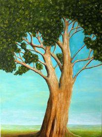 Landschaft, Blauer himmel, Baum, Malerei