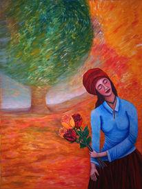 Baum, Malerei, Landschaft, Rose
