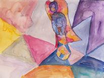 Engel, Dreieck, Engelfigur, Aquarell