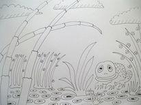 Frosch, Schilf, Schachtelhalm, Zeichnungen