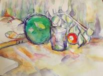 Apfel, Glas, Melone, Aquarell
