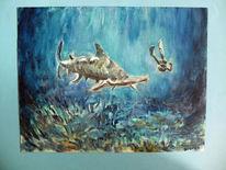 Taucher, Meer, Hammerhai, Malerei