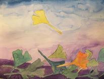 Blätter, Gingkoblatt, Aquarell,