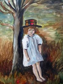 Kind, Baum, Mädchen, Malerei