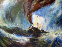 Meer, Welle, Segelboot, Malerei