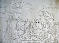 Zaun, Blumen, Schaf, Zeichnungen