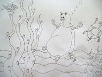 Schildkröte, Fisch, Wasserpflanze, Zeichnungen