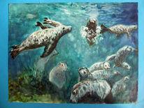 Unterwasser, Meer, Seehund, Malerei