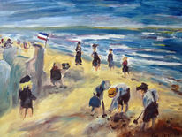 Meer, Strand, Kinder, Malerei