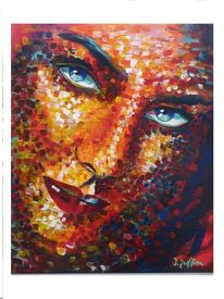 Bunt, Portrait, Acrylmalerei, Gesicht