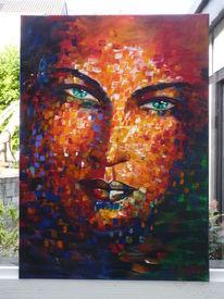 Gesicht, Acrylmalerei, Portrait, Bunt