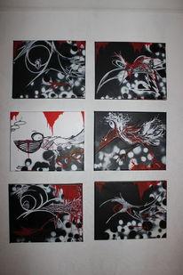 Meise, Schwarz weiß, Vogel, Malerei