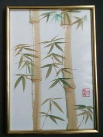 Bambus, Bunt, Aquarellmalerei, Aquarell