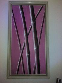 Acrylmalerei, Pink, Bambus, Malerei