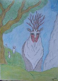 Fantasie, Waldgott, Studio ghibli, Zeichnung