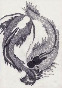 Fisch, Gleichgewicht, Yang, Schwarz weiß