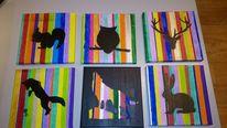 Acrylmalerei, Waldtiere, Fuchs, Hase