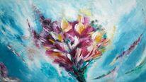 Gelb, Weiß, Pflanzen, Acrylmalerei