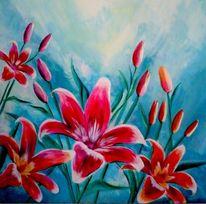 Lilien, Blüte, Malerei, Pflanzen